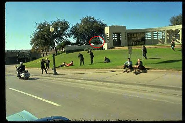 Grassy Knoll Onlookers All Pointing To And Indicating The