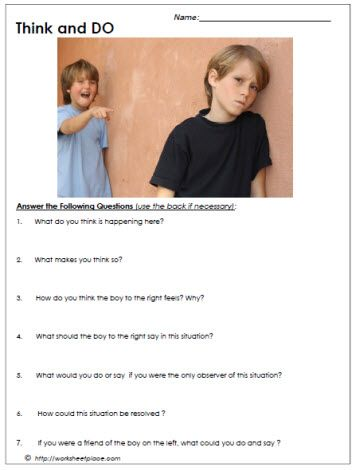 Bullying Worksheet | Journaling ideas for kids | Bullying worksheets