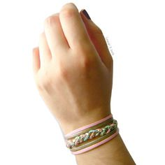 Bracelet manchette en simili cuir manchette turquoise, rose et doré, tressé main.