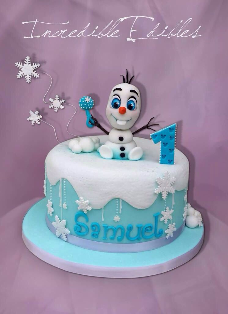 Baby Olaf cake Babys first birthday Frozen party ideas Zailyn