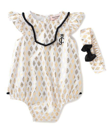 e82fbe4c1 Juicy Couture Black & Gold Geometric Bodysuit & Headband - Infant | zulily