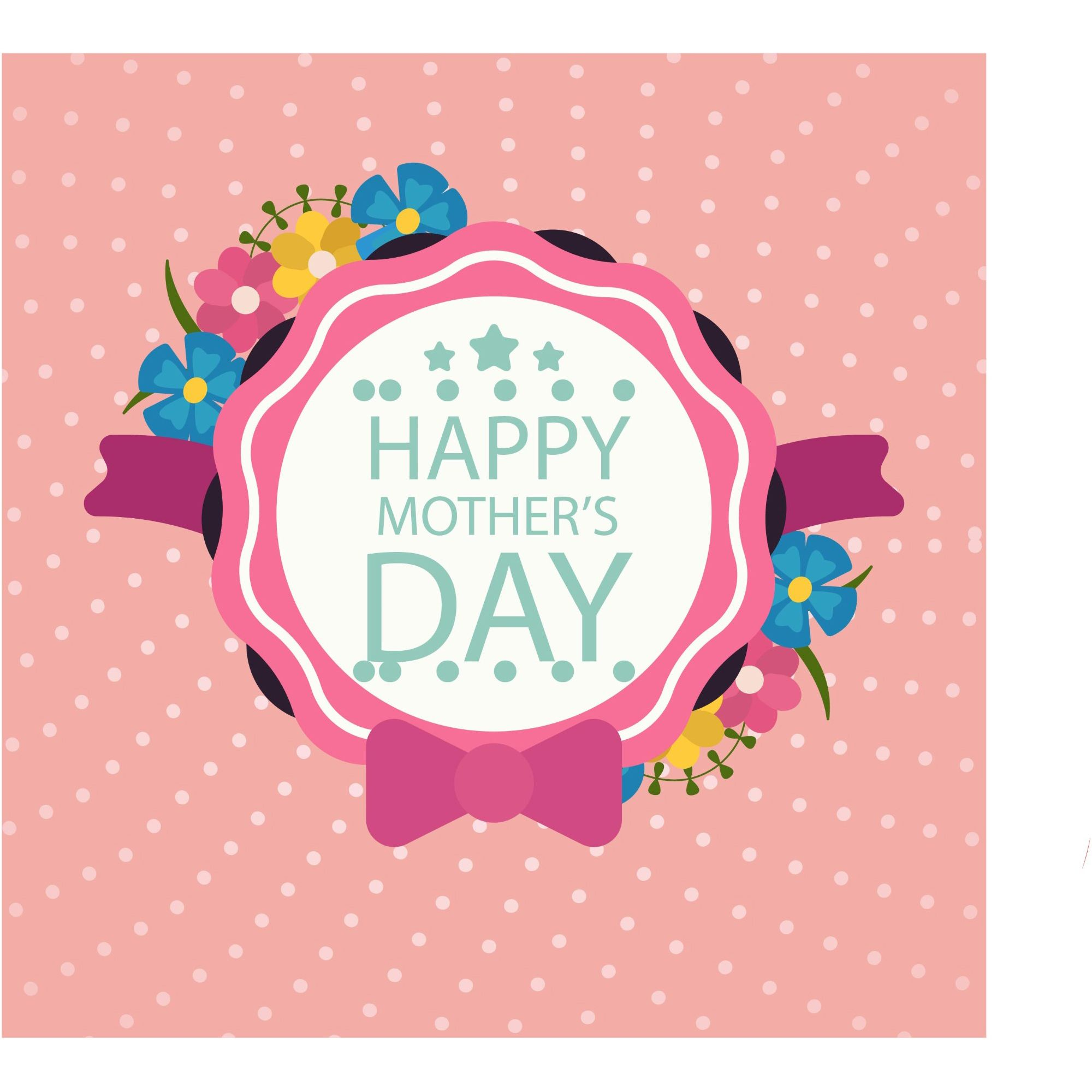 happy mothers day layout design with roses lettering ribbon frame dotted background - Mother Frame