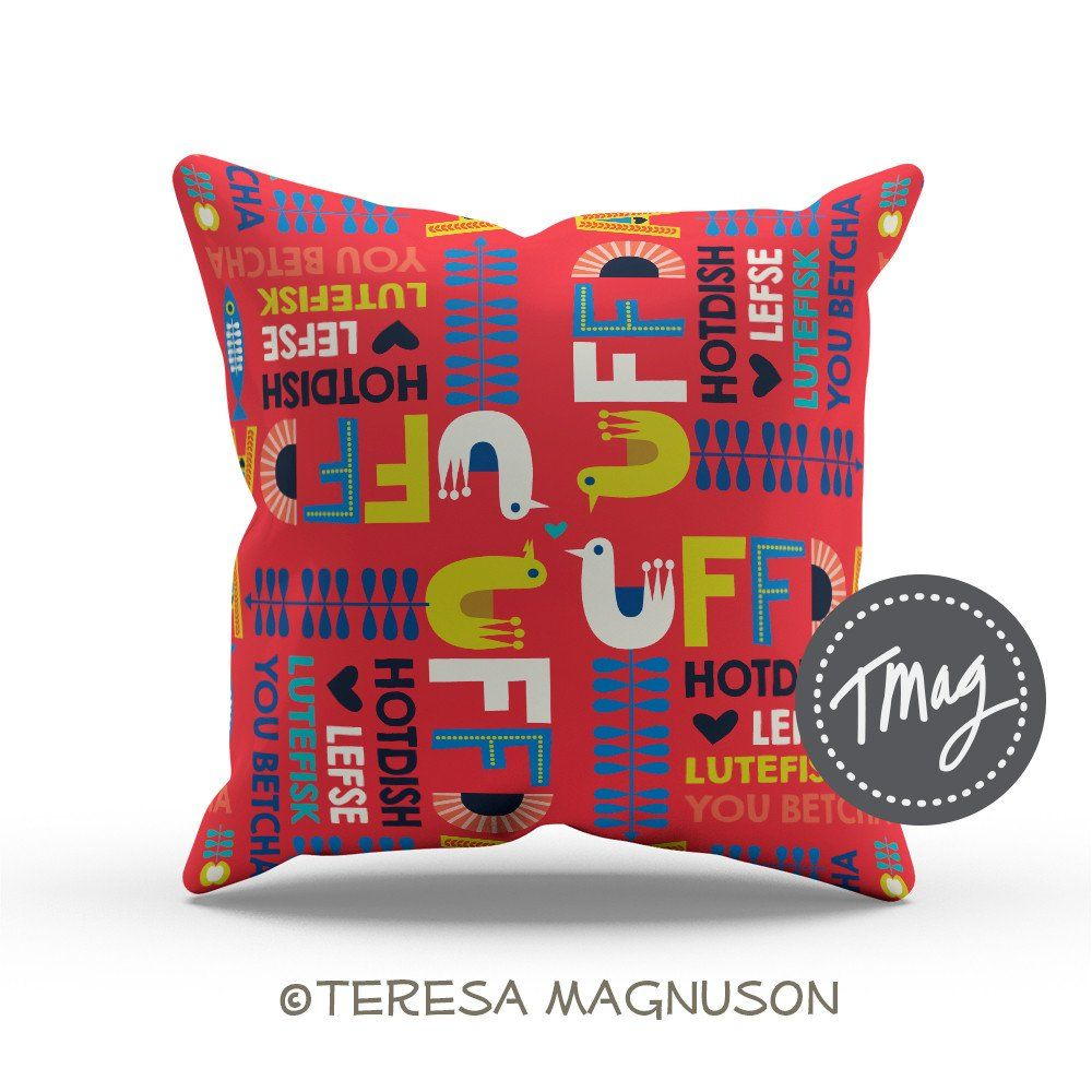 Uffda pillow cover nordic wordmark in red pillows pinterest