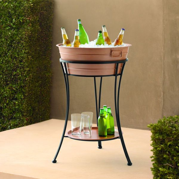 Round Steel Copper Ice Bucket Party Tub With Stand And