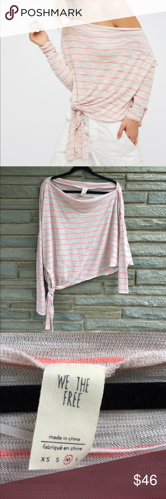 cc65f2f9fc Free People Off the Shoulder Tee NWT. We the Free Striped Love Lane Tee in  Grey/Neon Combo. Relaxed Fit with Slouchy Off-Shoulder Fit and Effortless  Tie ...