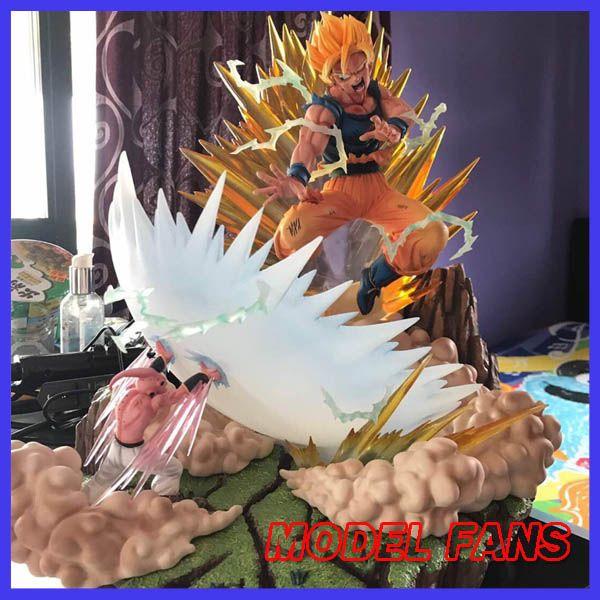 Model Fans Dragon Ball Z Mrc Super Saiyan Goku Vs Evil Majin Buu Gk Resin Statue Contain Led Light Figure Toy For Action Figures Toys Dragon Ball Dragon Ball Z