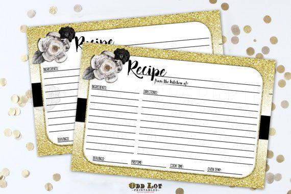 Recipe Card Printable Recipe Card Gold Glitter by OddLotPrintable - recipe card