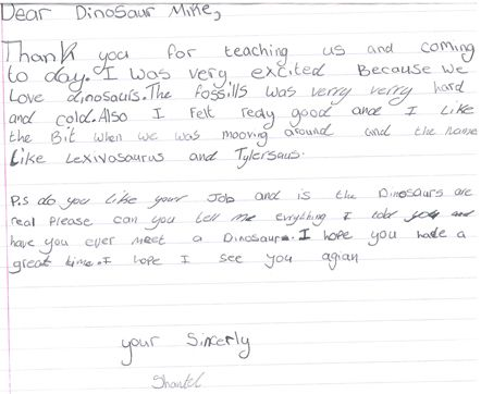 Children Compose Thank You Letters After Dinosaur Workshop  Blog