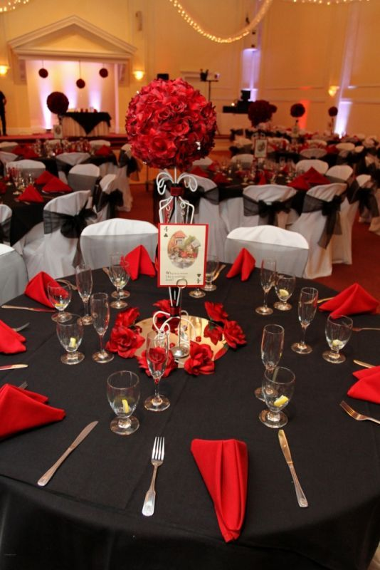Red Black And White Alice In Wonderland Wedding Wedding