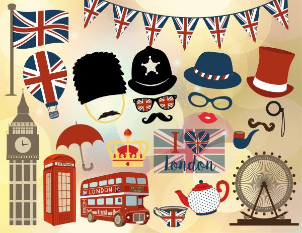 Printable british party photo booth props london inspired for Decoration theme angleterre