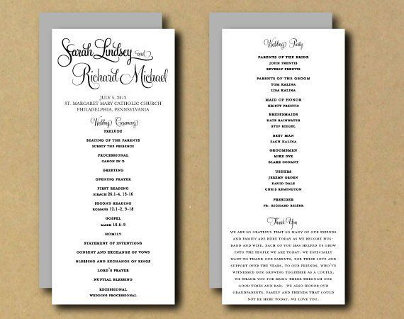 Sale Printable Wedding Program Template Whimsical Calligraphy