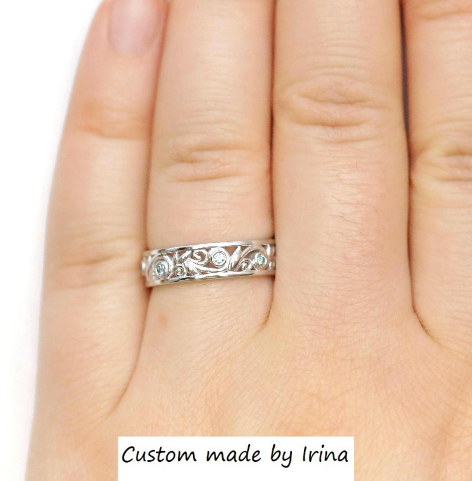 Rustic eternity wedding ring, teal blue diamond wedding