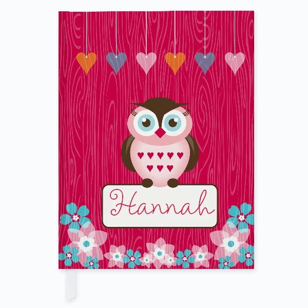 "The Owl Friends Journal is a 7.5"" x 5.75"" hard cover book with 120 lined pages ready to be personalized with a child's name. Frecklebox personalized kids journals make great party favors and even fit inside our tin lunch boxes for a fun gift set."