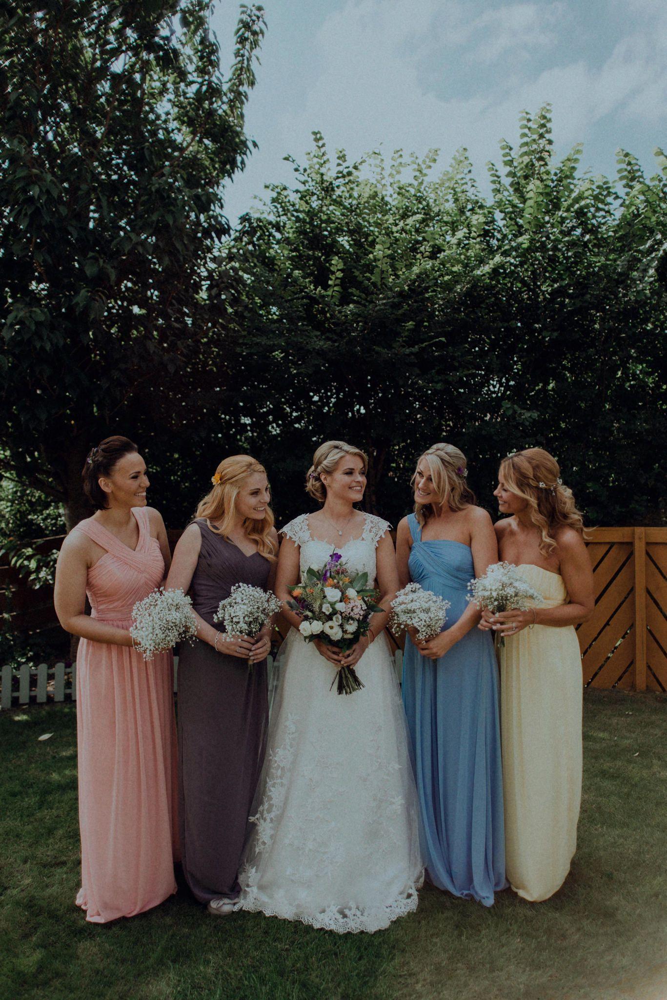 Crook hall wedding photography mismatched bridesmaid dresses rainbow bridesmaid dresses pastel wedding chris randle photography durham ombrellifo Choice Image
