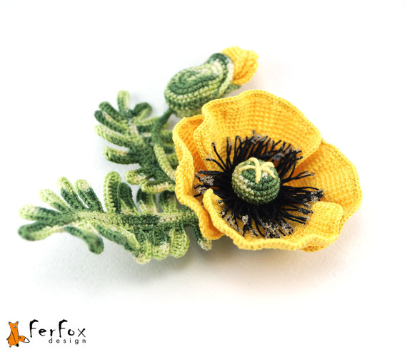 Yellow Poppy Brooch, poppy jewelry, flower brooch, poppy pin ...