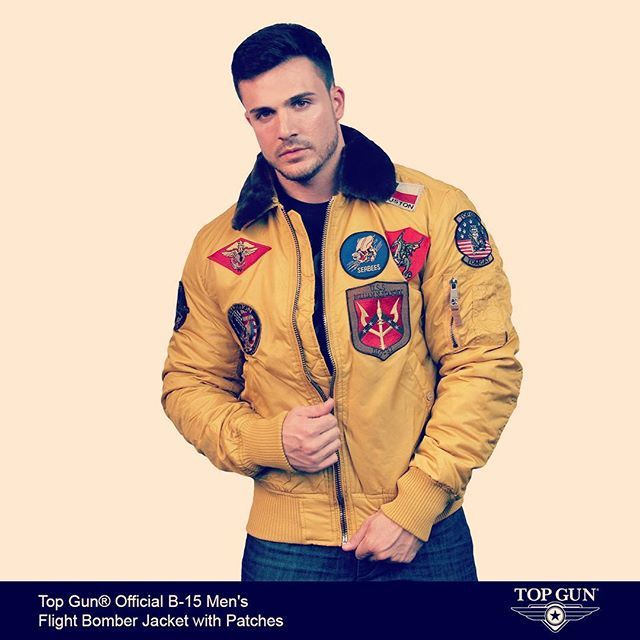 Top Gun® Official B-15 Men s Flight Bomber Jacket with Patches We took our 76fa36645c426