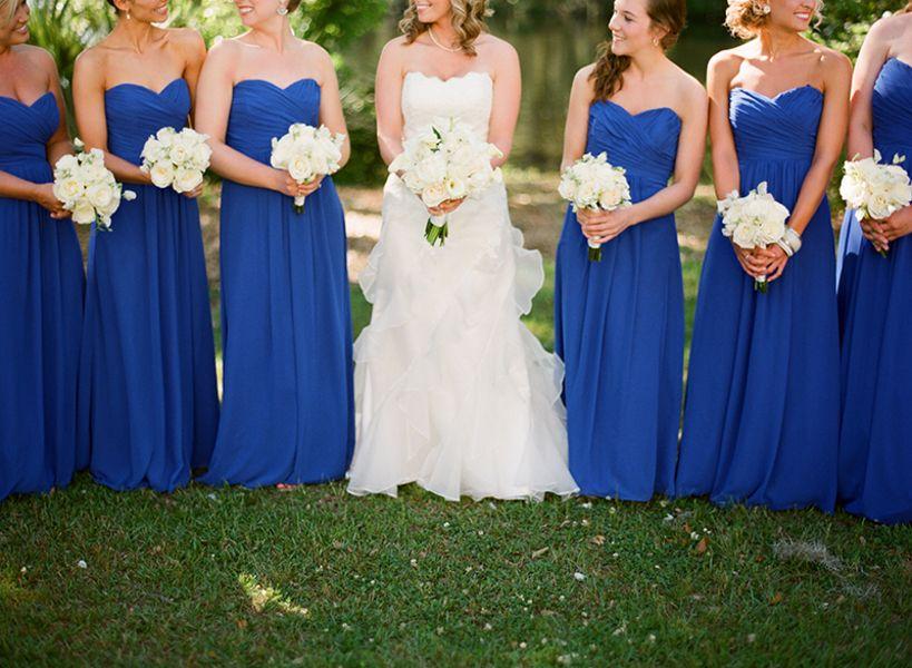 Cheap Floor Length Sapphire Blue Bridesmaids Dresses