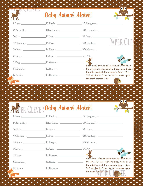 Woodland Baby Shower Baby Animal Match Game