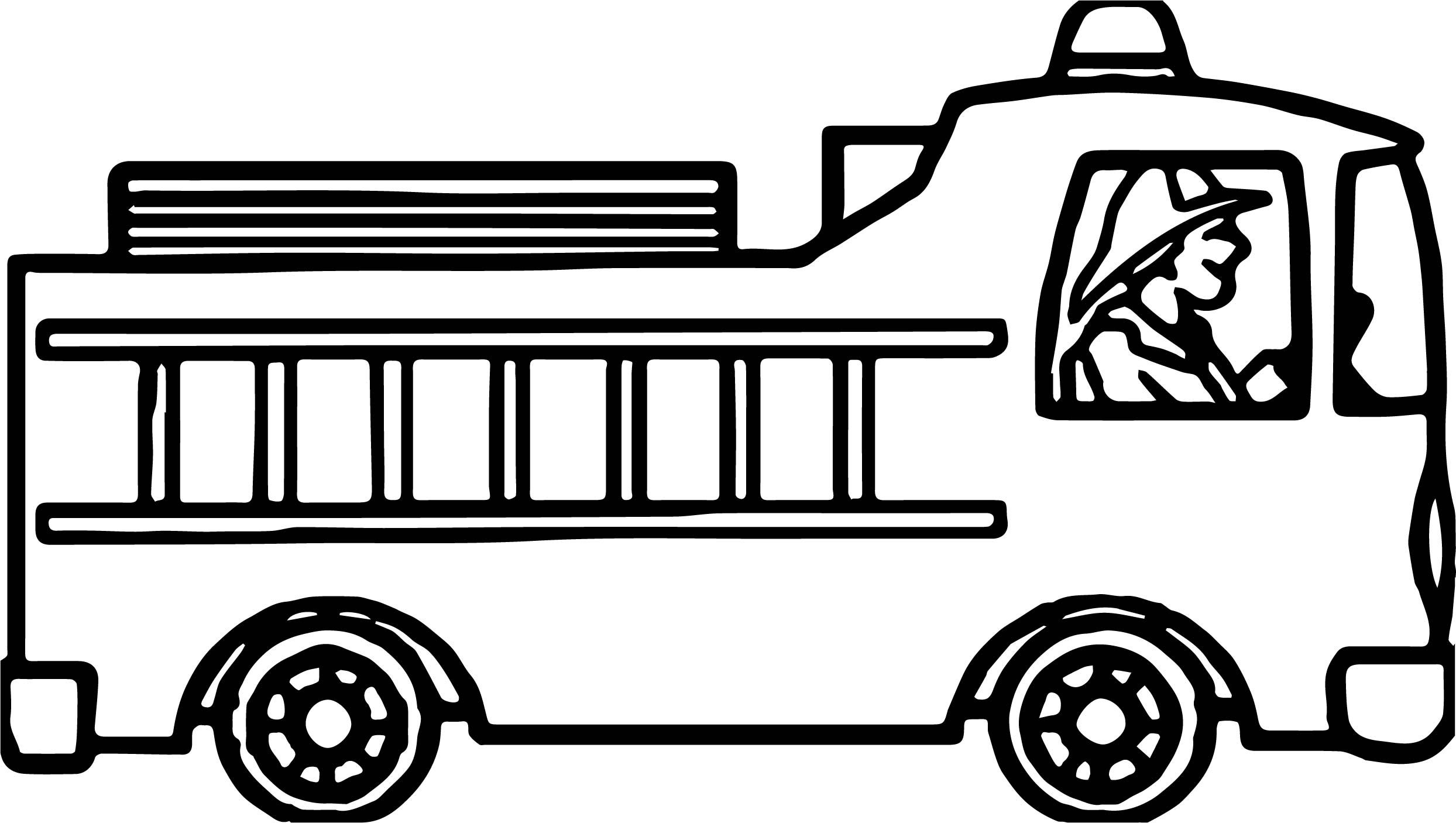 Cool Drive Fire Truck Coloring Page