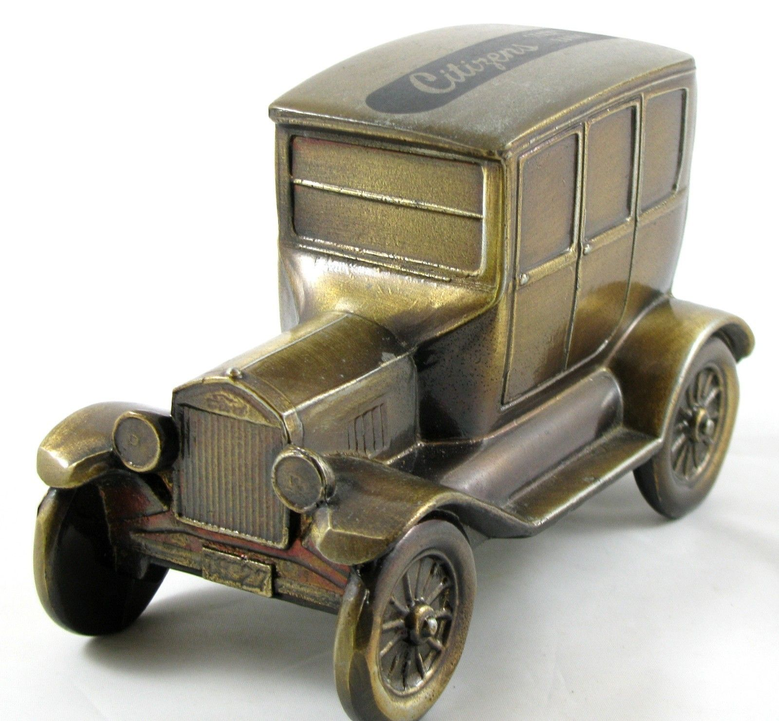 Banthrico Metal Vintage Ford Model T Car Coin Piggy Bank Citizens  # Modele Banc En Bois