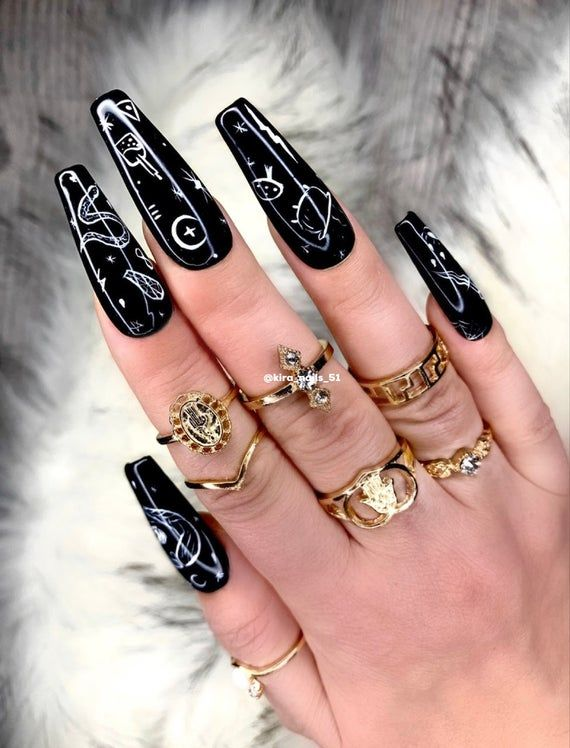 Personalized Every Day Halloween Black Fake Witch Nails By Etsy In 2020 Witch Nails Glue On Nails Goth Nails
