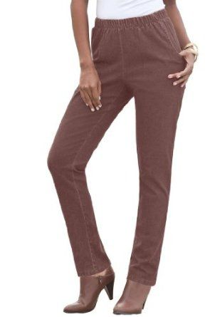 74cc684b962 Roamans Plus Size Tall Straight Leg 2-Pocket Leggings (Chocolate