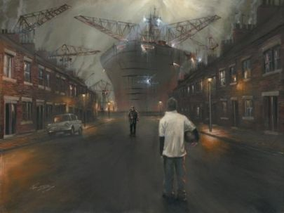 Memories of Giants by Kevin Day    Signed Limited Edition mounted prints £275  It is about Memories that I had of the Shipyards and industry when I was younger. Although it was beginning a steady decline when I was young I was still struck by the contrast of Steel Giants rising above terraced Houses and people living around them . A lot of people want to know what ship it is and where it is meant to be, however it is none specific and exagerated. I wanted the ship to look like a Giant.