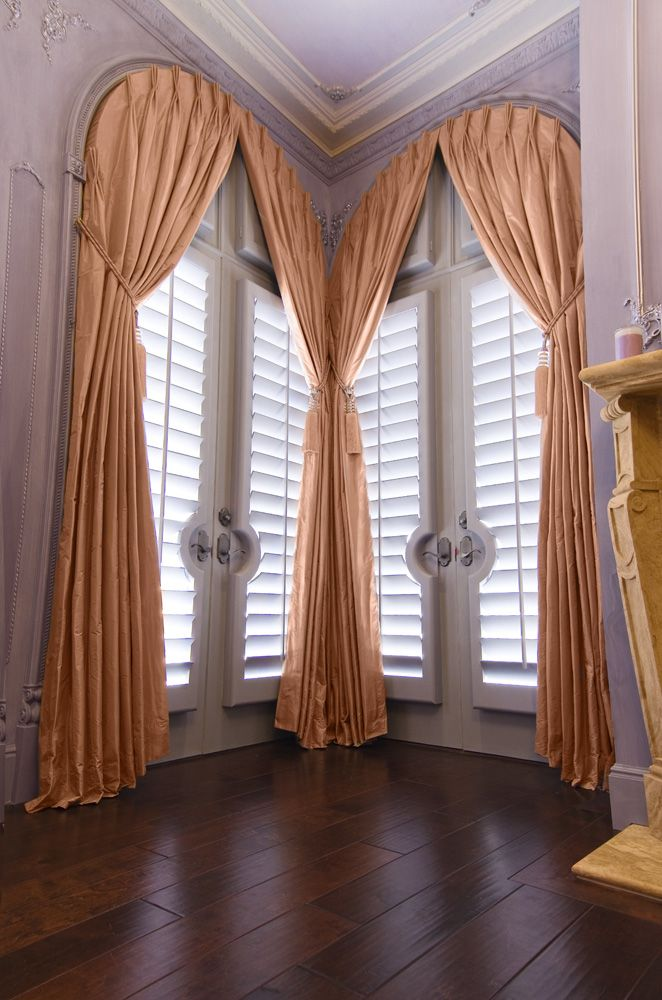 Shirred Arch Drapes Made With Robert Allen S Karela Quartz And Tie Backs Along With Shutter Pa Curtains For Arched Windows Elegant Draperies Beautiful Curtains