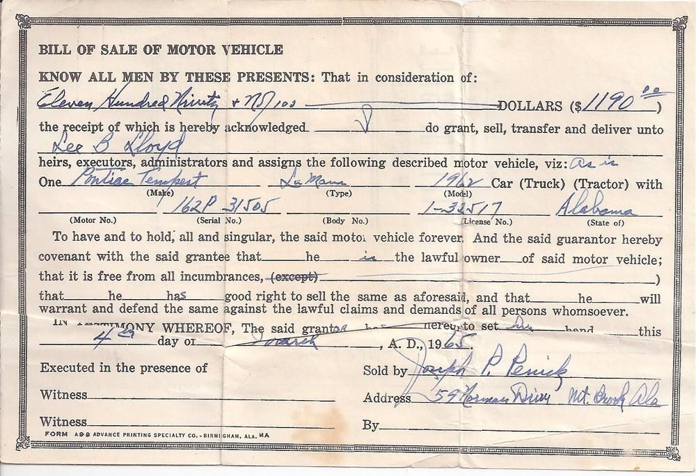 Original Used Car Bill Of Sale Of Motor Vehicle  Pontiac