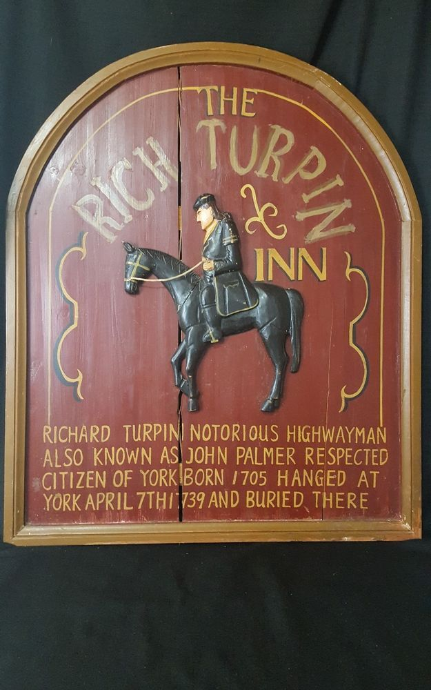 Large VTG Wood Sign Rich Turpin Inn York England Home Decor Rustic Chic  Repro
