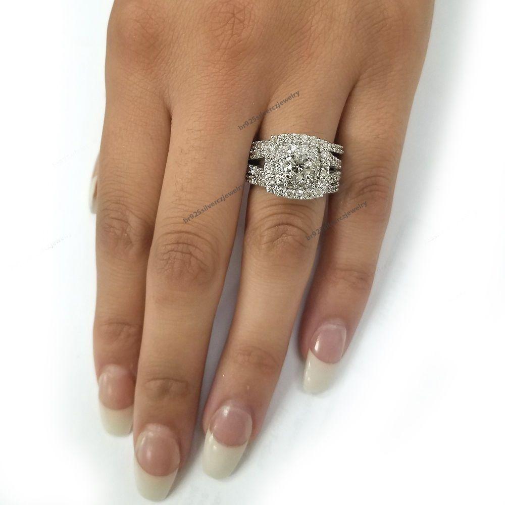 3 ct Diamond Wedding Split Shank Double Round Halo Bridal Ring Set 3