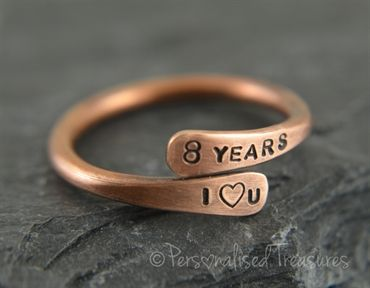 Personalised Bronze Ring For 8th Wedding Anniversary Bronze
