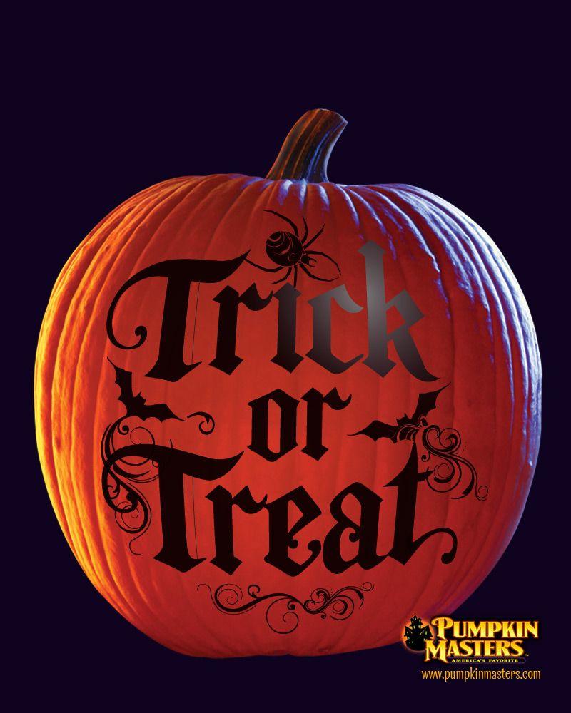 Trick or treat pumpkin stencils