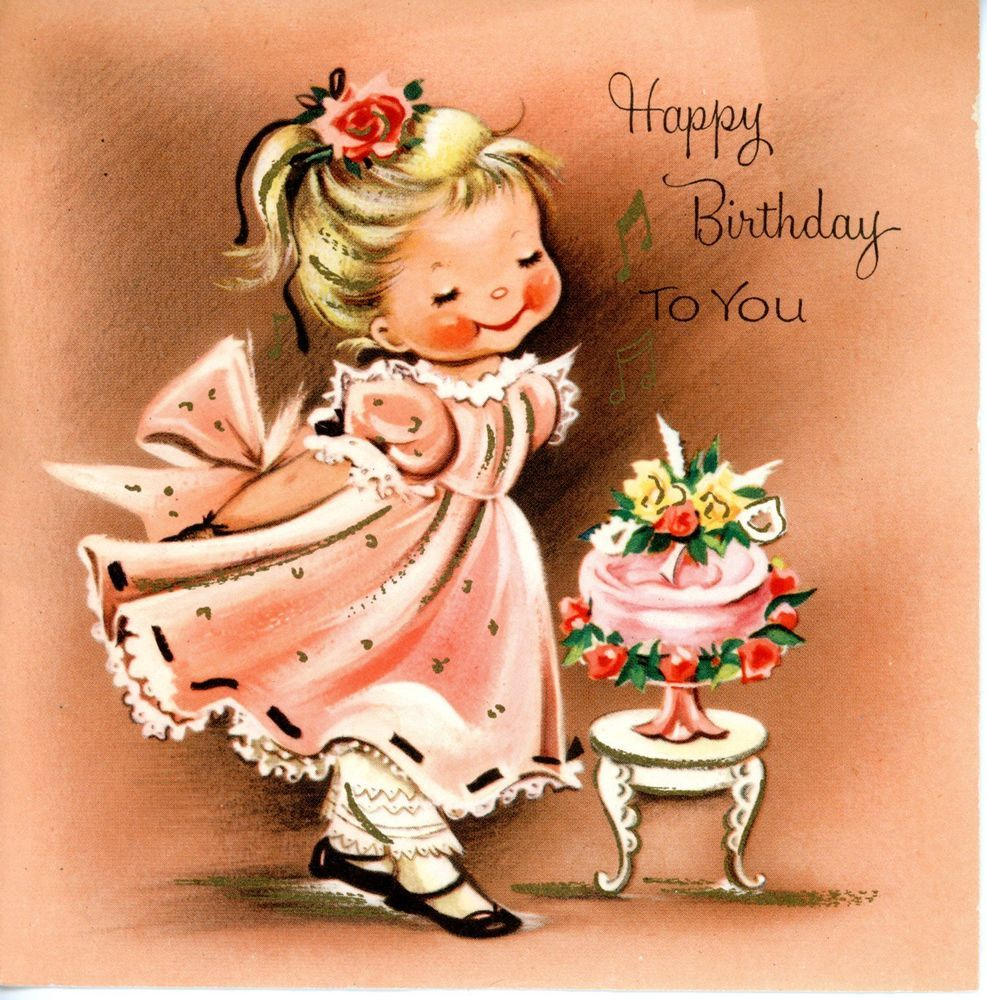 Vintage birthday greeting card girl in pink dress with cake 981 vintage birthday greeting card girl in pink dress with cake 981 bookmarktalkfo Image collections