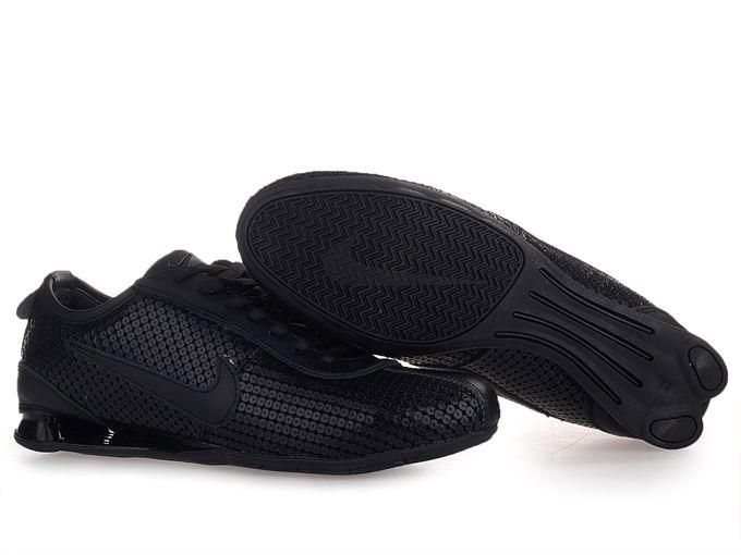 Cheap Mens Nike Shox R3 Leather Upper Shoes All Black  e26fd2602a