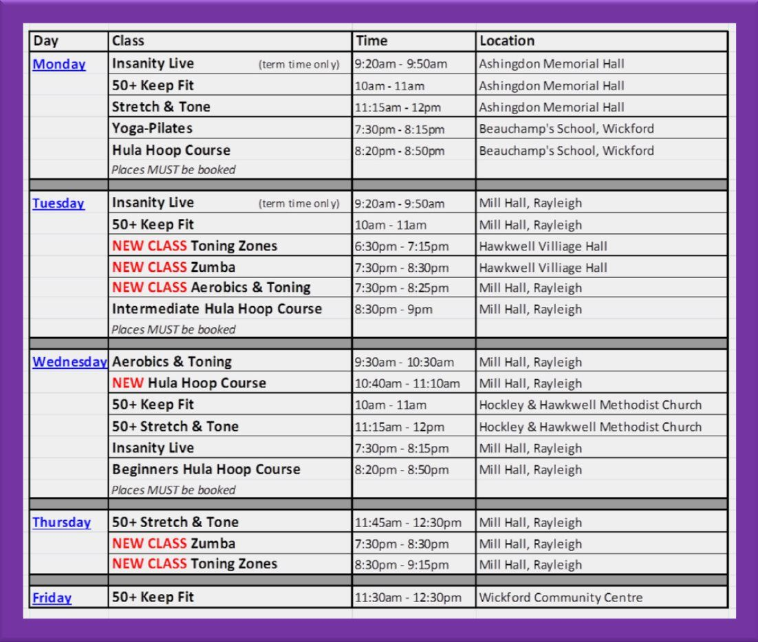 Brand New Class Timetable Starts Tues Th July   New Classes