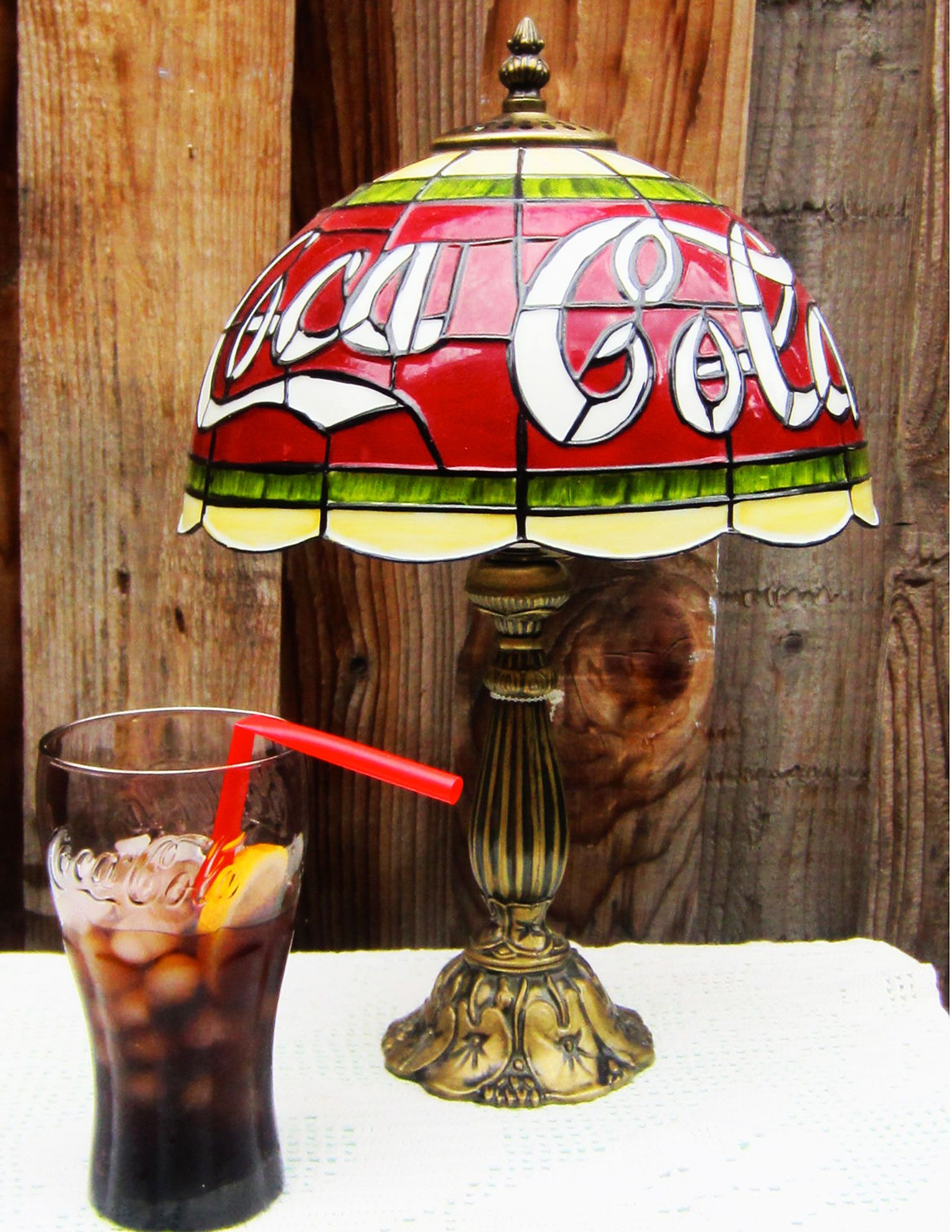 Coca Cola Stained Glass Lamp.Coca Cola Stained Glass Style Collectible Table Lamp Coca