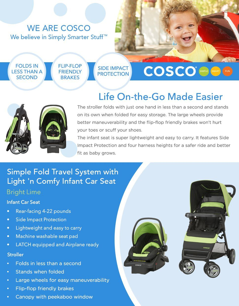 Cosco Simple Fold Travel System with Light 'N Comfy In