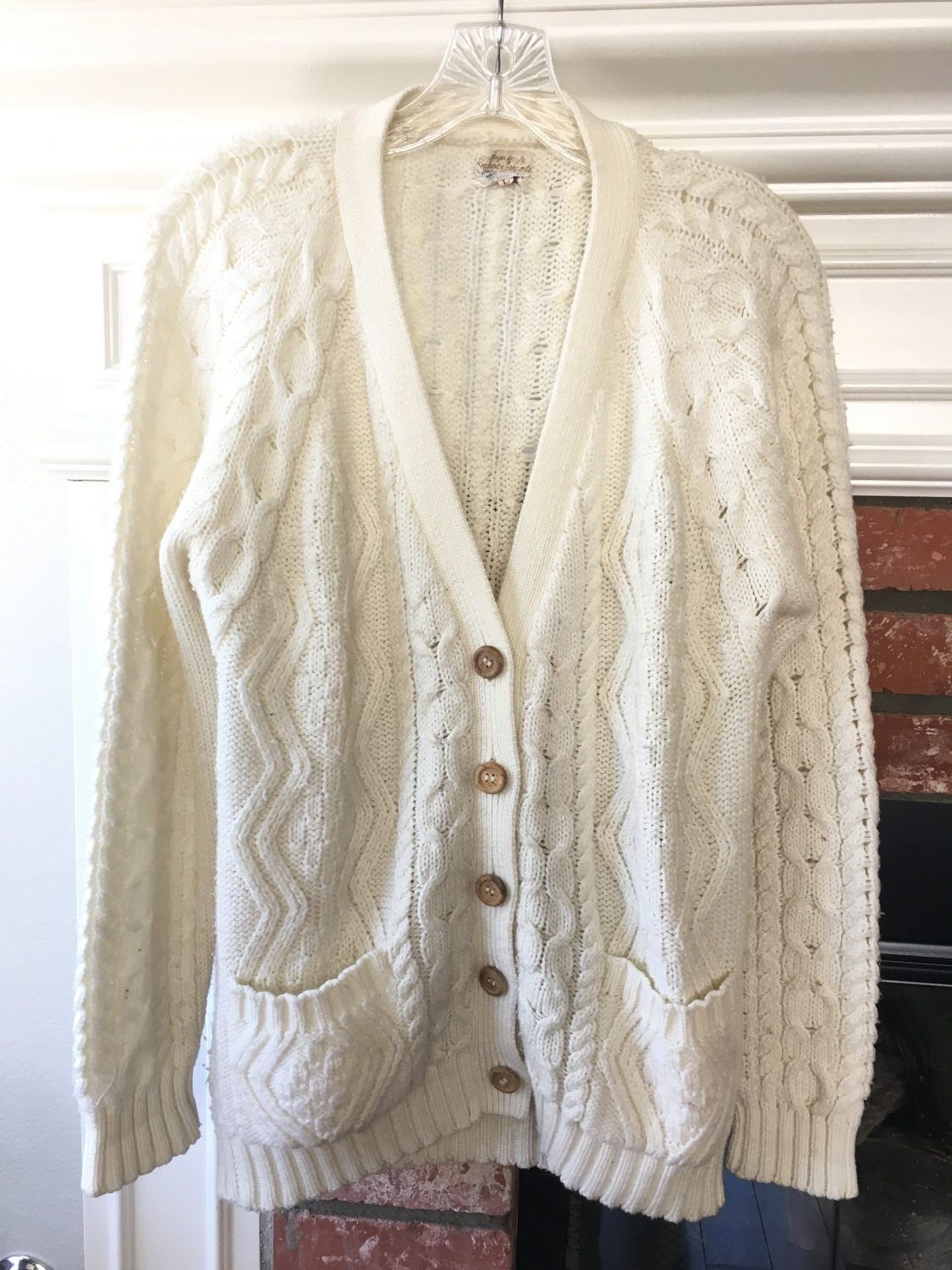 Vintage Cream Cable Knit Cardigan V-neck sweater womens large ...