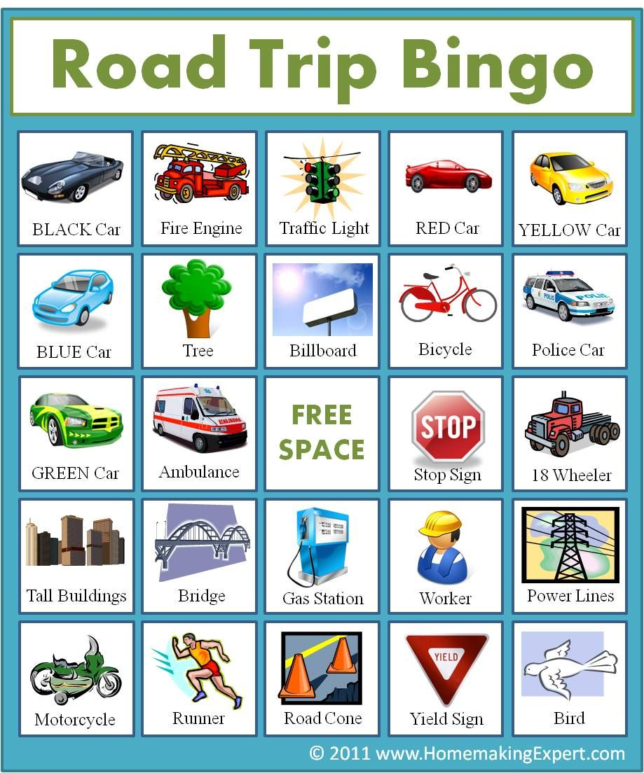 FREE Road Trip Bingo Game For Kids