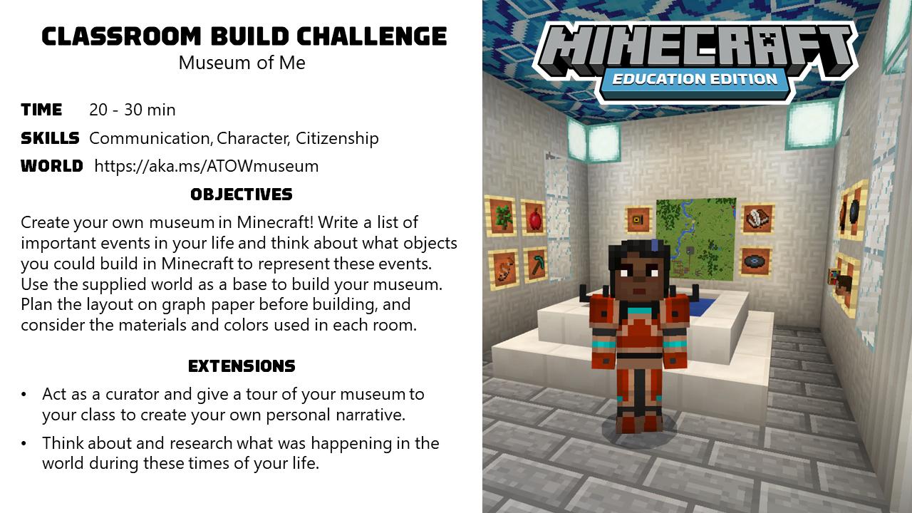 Activity Of The Week Museum Of Me Minecraft Education Edition Minecraft Classroom Education Minecraft Activities