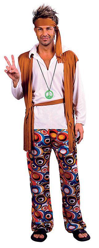 Mens 60s 70s Psychedelic CND Suit Retro Hippie Fancy Dress Costume Hippy