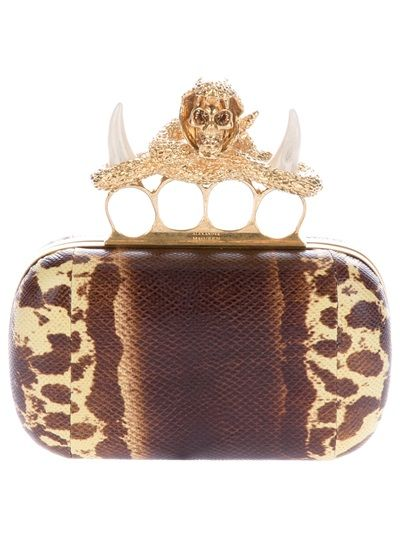 b8b94d4e9b7 Alexander McQueen gold knuckles & horns   Metals   Men clutch bag ...