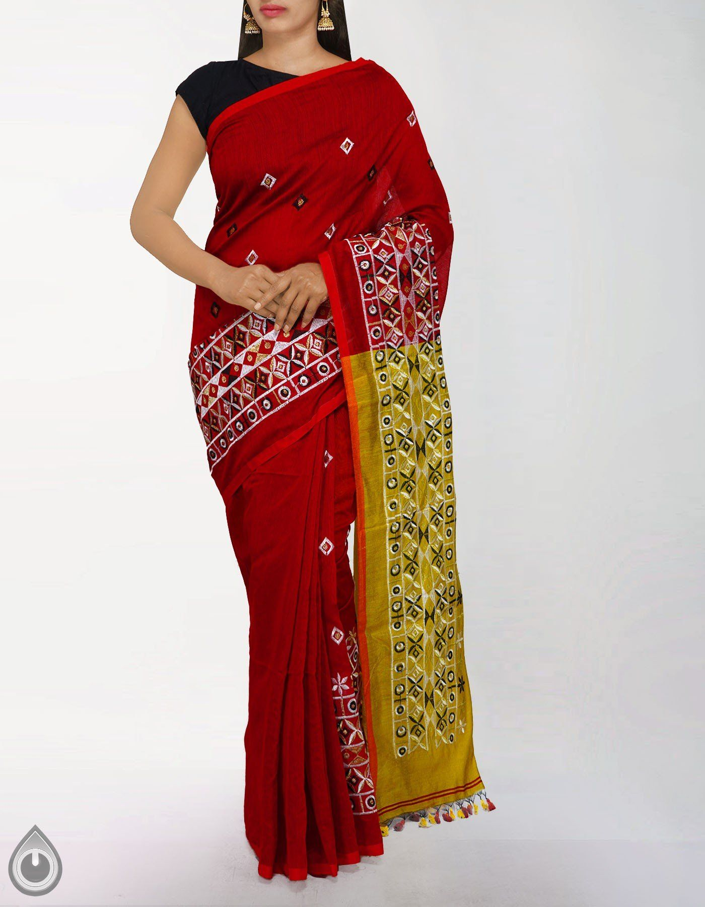 Red and Green Mysore Cotton Silk Saree with green blouse This saree