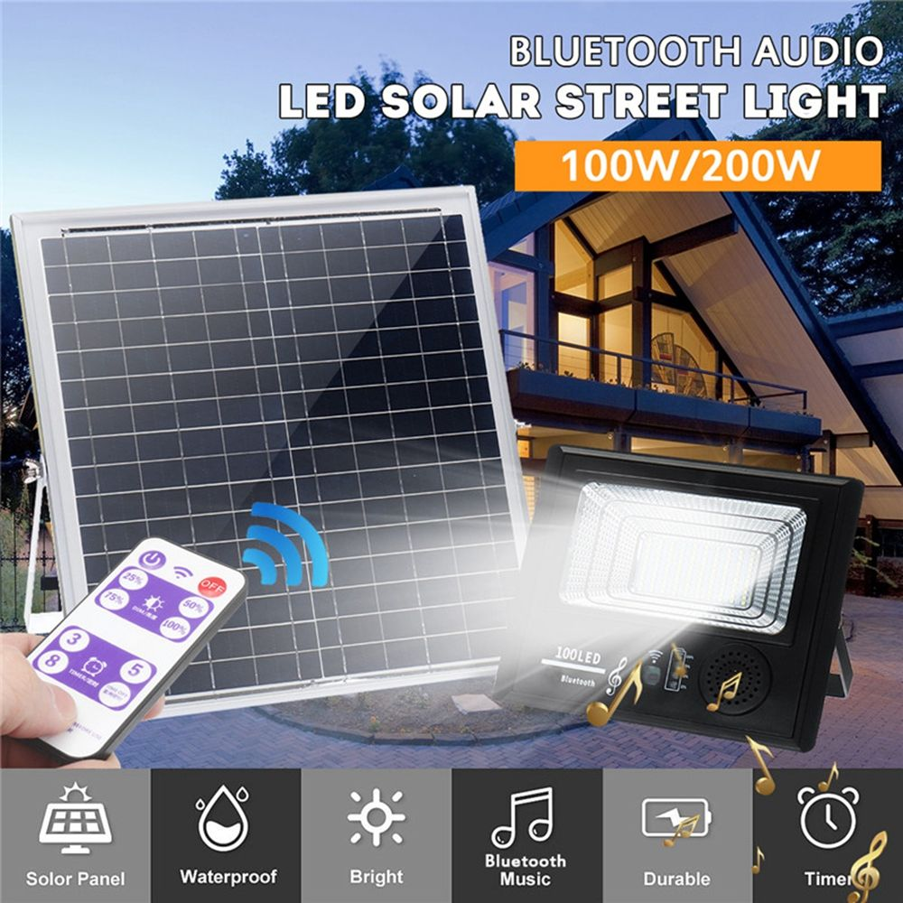 Bright Solar Powered 100 Led Flood Security Light Dimmable With Remote Controller For Garden Wall Outdoor Solar Flood Lights Outdoor Solar Lights Solar Lamp