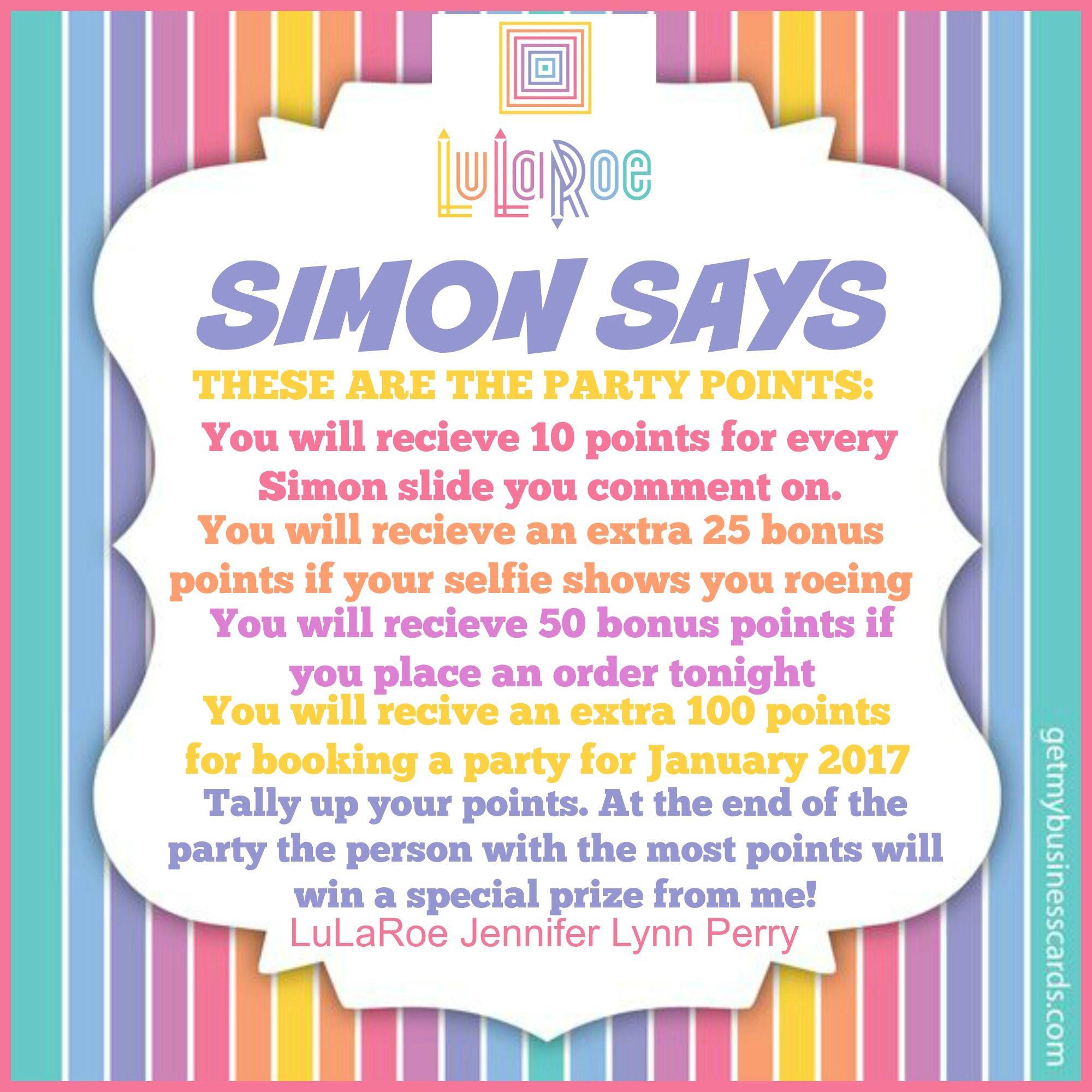 Simon Says game (slide 2) by LuLaRoe Jennifer Lynn Perry