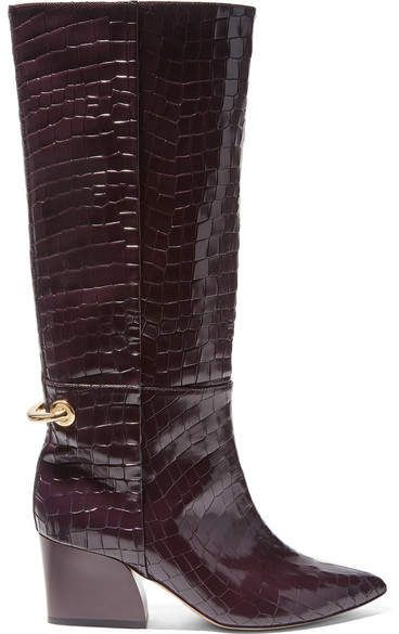Tibi – Stivali al ginocchio in pelle effetto cocco lucido Rowan – Merlot