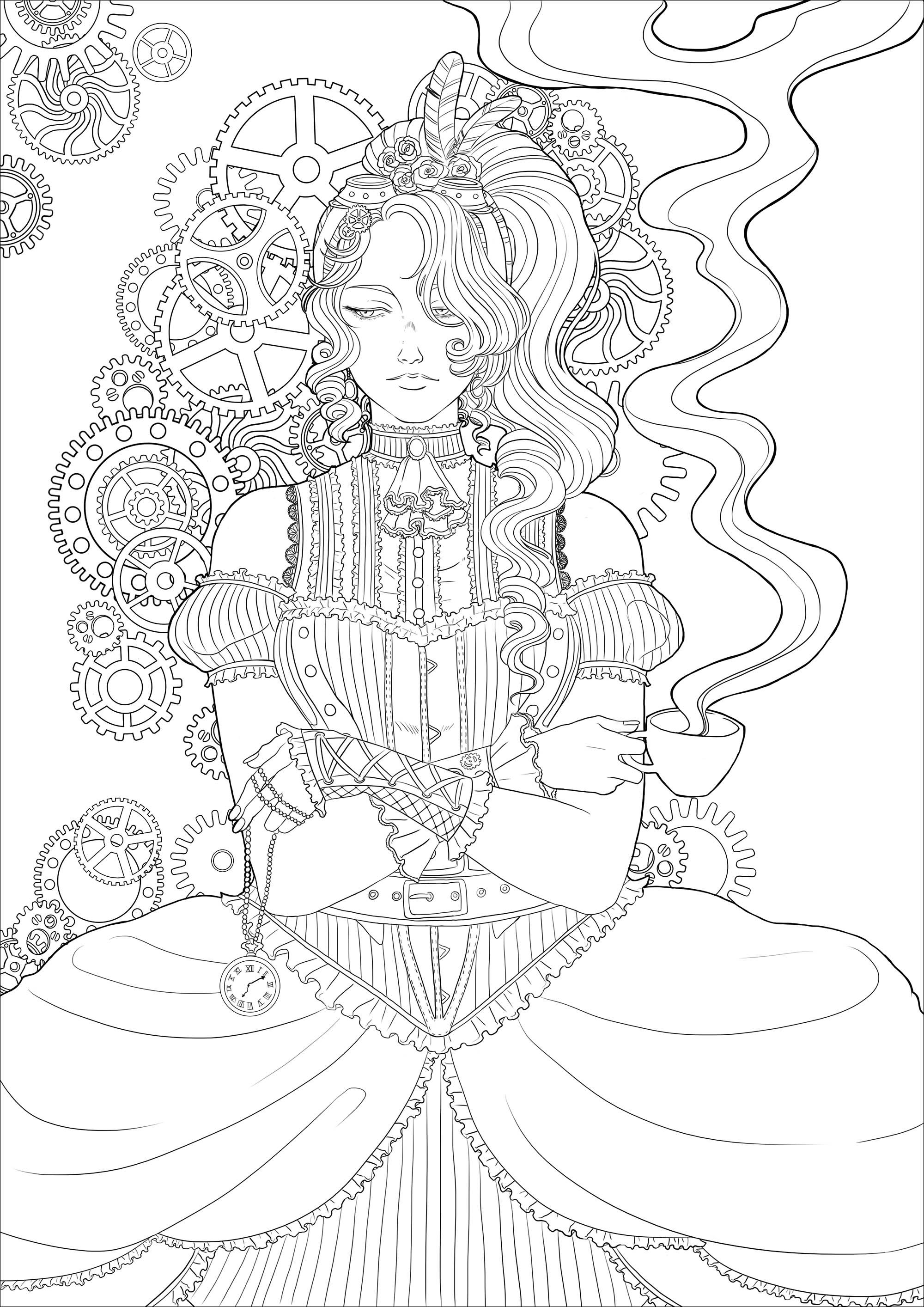 Coloring Page Of A Melancholy Young Woman With A Cup Of Tea All In A Victorian Environment And Steampunk Coloring Book Steampunk Coloring Fairy Coloring Pages