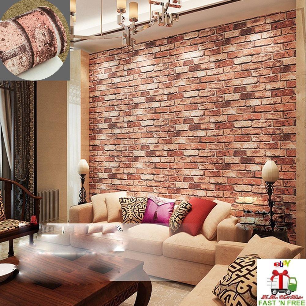 3d Wallpaper Brick Stone Living Room Tv Background Modern Textures Bedroom Decor Qihang Modern Fake Brick Wall Brick Wall Wallpaper Red Brick Walls