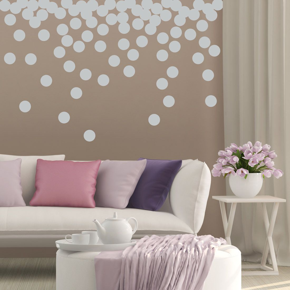 Dot Wall Decal Set   Set Of 56 Polka Dots   Living Room Wall Stickers